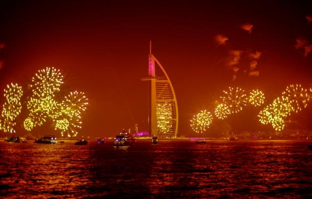 Burj Al Arab New Year Fireworks view from exclusive yacht in Dubai