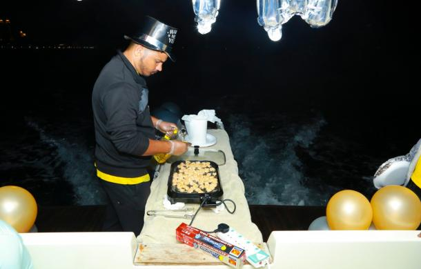 New Year dinner preparation on a yacht