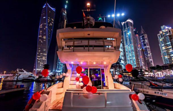 Birthday Yacht Decorated with red & white balloons