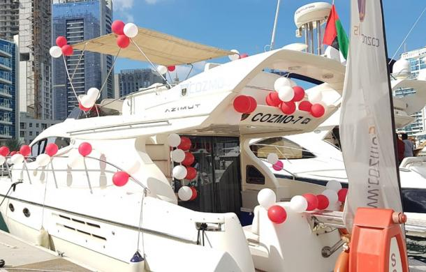 Birthday decorated yacht