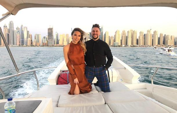 Romantic Couple Cruising on Luxury Yahct in Dubai
